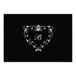 "Monogram RSVP Card - Black & White 3.5"" X 5"" Invitation Card"