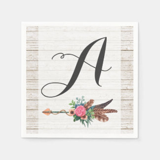 Monogram Rustic Bohemian Feathers Arrow Wedding Paper Napkins