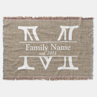 Monogram Rustic Burlap Family Name Throw