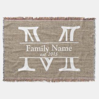 Monogram Rustic Burlap Family Name Throw Blanket