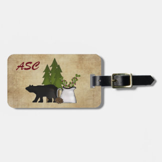 Monogram Rustic Country Mountain Silhouette Bear Luggage Tag