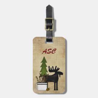 Monogram Rustic Country Mountain Silhouette Moose Luggage Tag