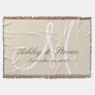 Monogram | Rustic Linen Look Throw Blanket
