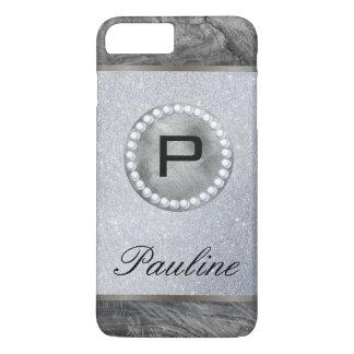 Monogram Rustic Pearl Wood Glitter Case-Mate iPhone Case