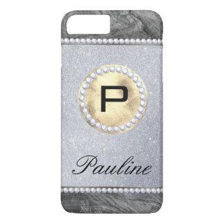 Monogram Rustic Pearl Wood Glitter iPhone 8 Plus/7 Plus Case