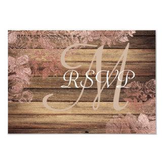 Monogram Rustic Wood Rose Lace Wedding RSVP Card