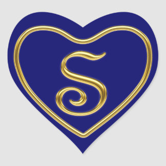 Monogram S in 3D gold Heart Sticker