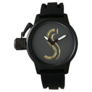 Monogram S Initial Letter Typography Black Gold Wrist Watches
