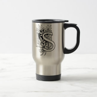 Monogram 'S' with Leaves - Travel Mug