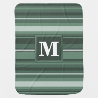 Monogram sage green stripes baby blanket