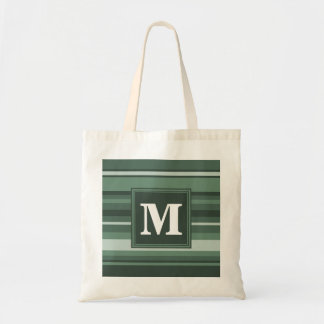 Monogram sage green stripes tote bag