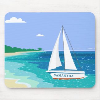 Monogram Sailboat Coastal Tropical Beach Mousepad