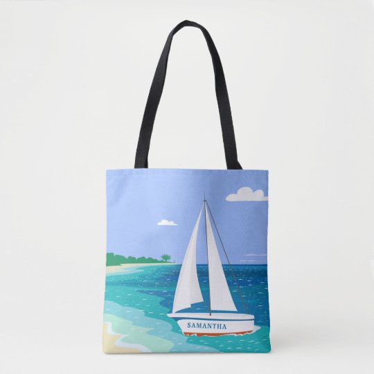 Monogram Sailboat Coastal Tropical Beach Tote Bag
