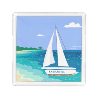 Monogram Sailboat Coastal Tropical Beach Tray