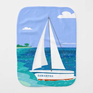 Monogram Sailboat Coastal Tropical Burp Cloth