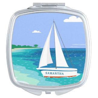 Monogram Sailboat Coastal Tropical Compact Mirror