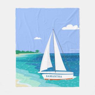 Monogram Sailboat Coastal Tropical Fleece Blanket
