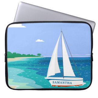 Monogram Sailboat Coastal Tropical Laptop Sleeve