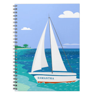 Monogram Sailboat Coastal Tropical Notebook