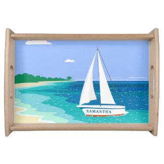 Monogram Sailboat Coastal Tropical Serving Tray