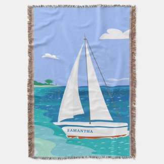 Monogram Sailboat Coastal Tropical Throw Blanket