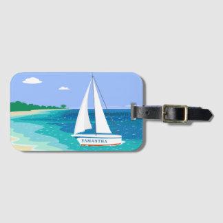 Monogram Sailboat Tropical Beach Luggage Tag