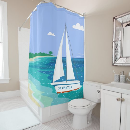 Monogram Sailboat Tropical Beach Shower Curtain