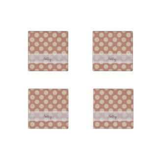 Monogram Salmon Pink Beige Chic Polka Dot Pattern Stone Magnets