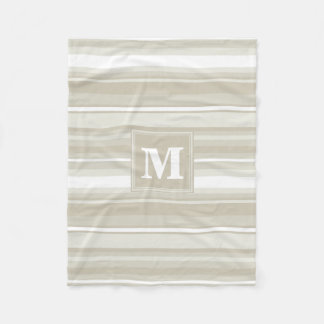 Monogram sandstone stripes fleece blanket