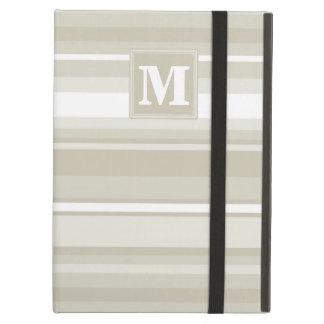 Monogram sandstone stripes iPad air cover