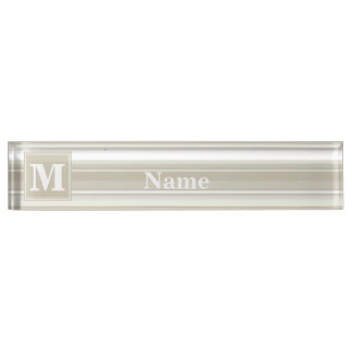 Monogram sandstone stripes nameplate