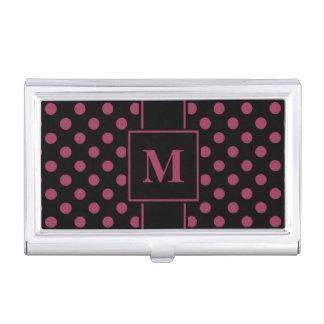 Monogram Sangria Pink Polka Dot on Black Business Card Holder