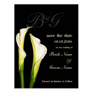 Monogram Save the Date, calla lily postcards