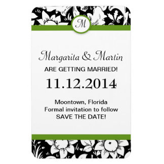 monogram save the date damask magnets