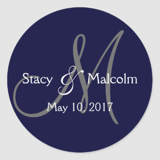 Monogram Save the Date Label | Navy Blue