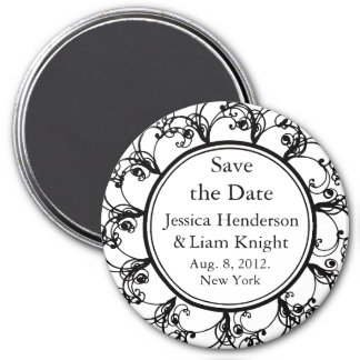 Monogram Save the Date Magnet white