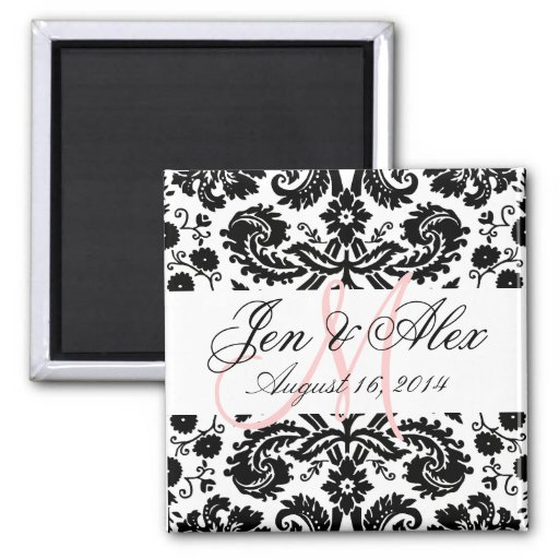 Monogram Save the Date Paisley Magnet Pink Refrigerator Magnet