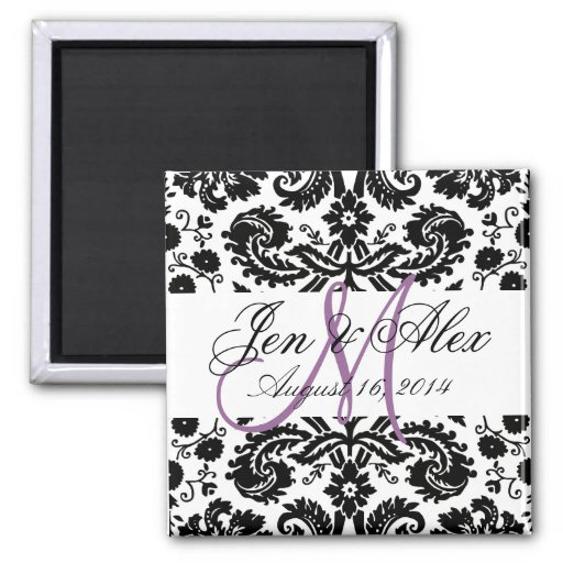 Monogram Save the Date Paisley Magnet Purple Refrigerator Magnet