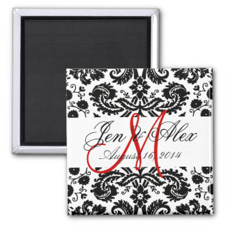 Monogram Save the Date Paisley Magnet Red