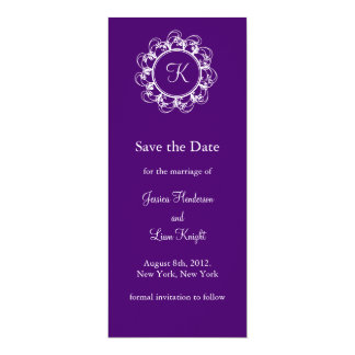 Monogram Save the Date (purple) Card