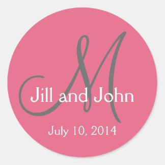 Monogram Save the Date Stickers Honeysuckle Pink