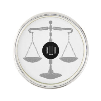 Monogram   Scales of Justice Lapel Pin