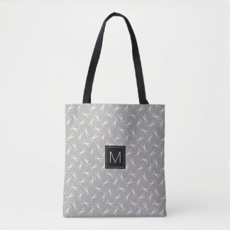 Monogram Scissors Pattern in Gray Tote Bag