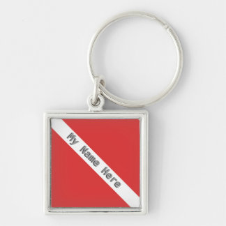 MONOGRAM SCUBA DIVING LOGO RED DIVER FLAG Silver-Colored SQUARE KEYCHAIN