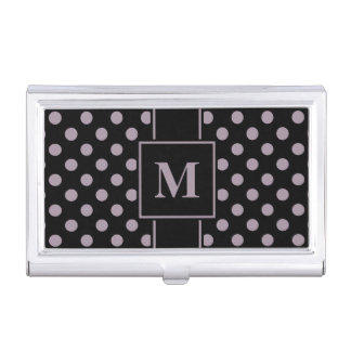 Monogram Sea Fog Purple Polka Dot on Black Business Card Holder