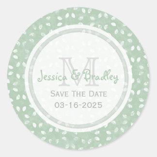 Monogram Seafoam Green Save The Date Stickers