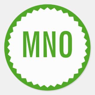Monogram Seal Zigzag Border, Grass Green Round Sticker