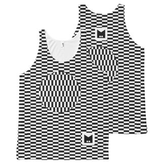 Monogram Series: Black and White Optical Illusion. All-Over-Print Tank Top
