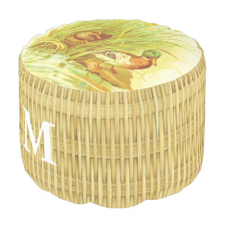 Monogram Series: Ducks. Natural Basket Weave. Pouf