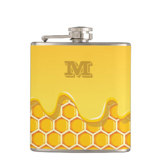 Monogram Series: Honeycomb with Honey Drip. Hip Flask